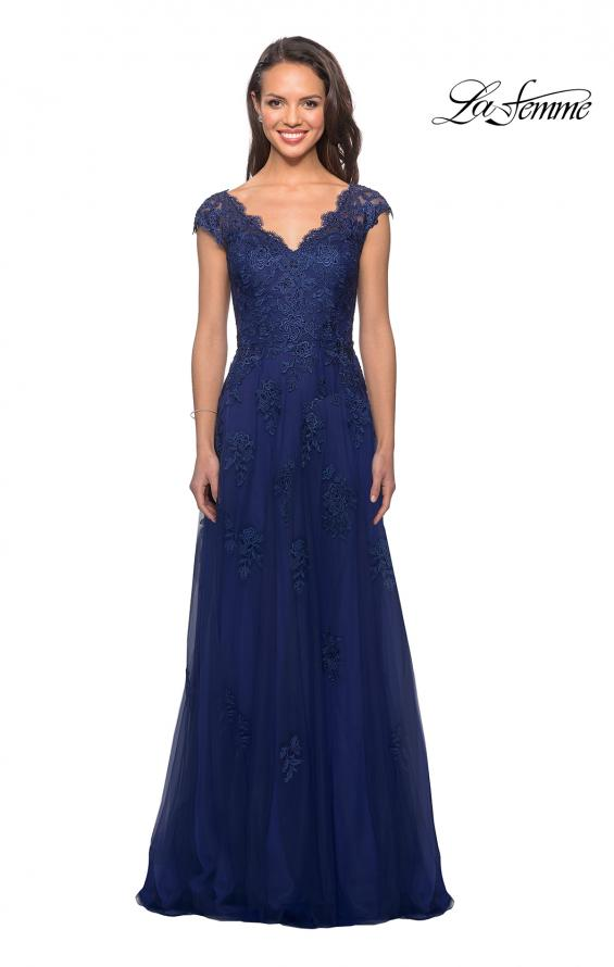 Picture of: Short Sleeve Lace Gown with Cascading Embellishments in Marine Blue, Style: 26942, Detail Picture 1