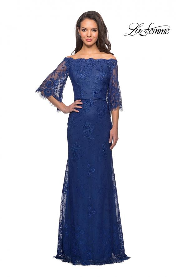 Picture of: Long Lace Gown with Off the Shoulder Flare Sleeves in Marine Blue, Style: 25317, Detail Picture 2