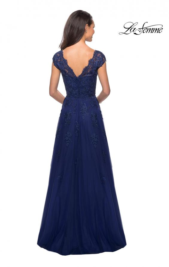 Picture of: Short Sleeve Lace Gown with Cascading Embellishments in Marine Blue, Style: 26942, Detail Picture 2