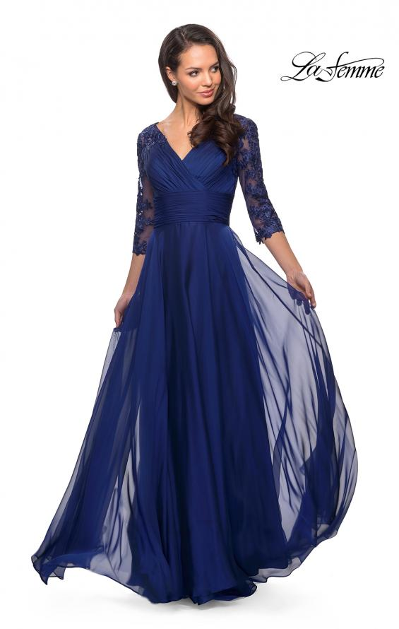 Picture of: Floor Length Chiffon Dress with Lace Sleeves, Style: 27153, Detail Picture 4