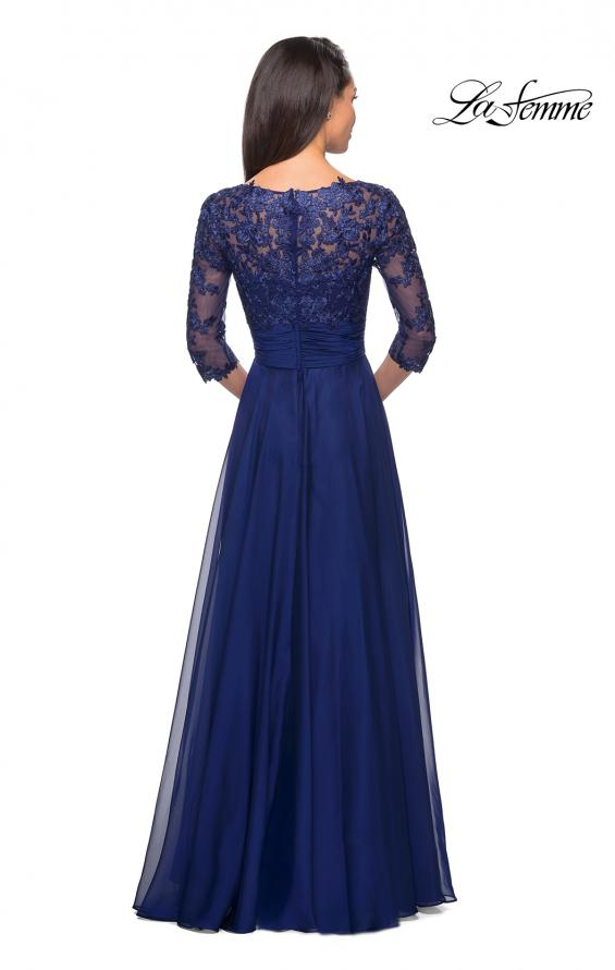 Picture of: Floor Length Chiffon Dress with Lace Sleeves, Style: 27153, Detail Picture 5