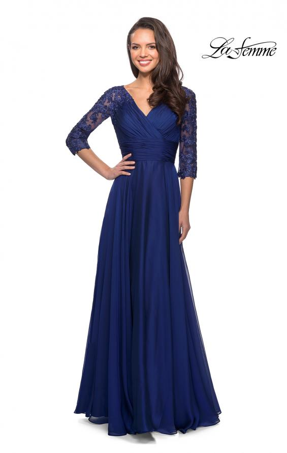 Picture of: Floor Length Chiffon Dress with Lace Sleeves, Style: 27153, Detail Picture 6