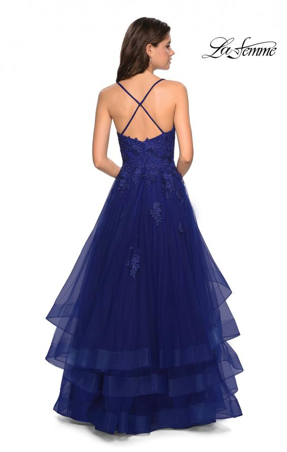 Picture of: Layered Tulle Dress with Lace Detail and Strappy Back in Marine Blue, Style: 27694, Back Picture