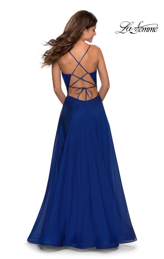 Picture of: Elegant Long Chiffon Prom Dress with Pleated Bodice in Marine Blue, Style: 28575, Back Picture