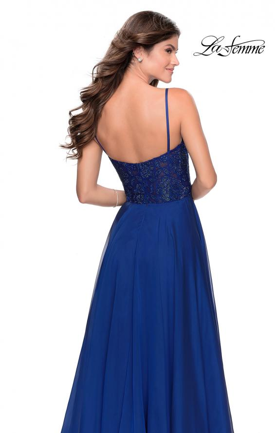 Picture of: Chiffon Prom Dress with Sheer Floral Lace Bodice in Marine Blue, Style: 28664, Back Picture