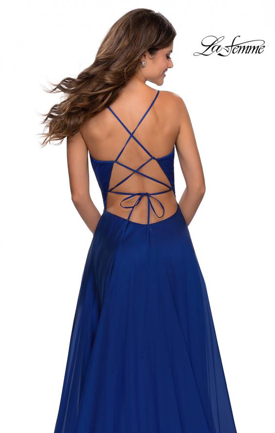 Picture of: Elegant Long Chiffon Prom Dress with Pleated Bodice in Marine Blue, Style: 28575, Detail Picture 2