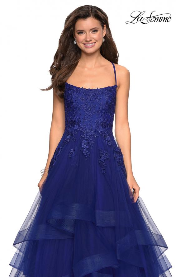 Picture of: Layered Tulle Dress with Lace Detail and Strappy Back in Marine Blue, Style: 27694, Detail Picture 3