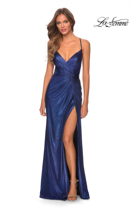 Picture of: Long Metallic Jersey Prom Dress with Knot Detail in Marine Blue, Style: 28363, Detail Picture 4