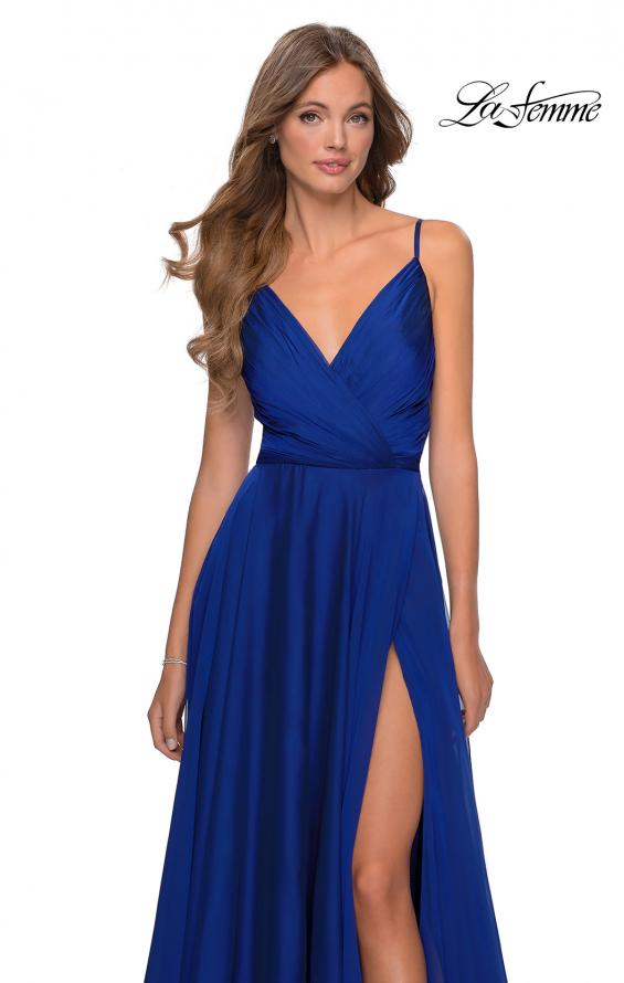 Picture of: Chiffon Prom Dress with Pleated Bodice and Pockets in Marine Blue, Style: 28611, Detail Picture 5