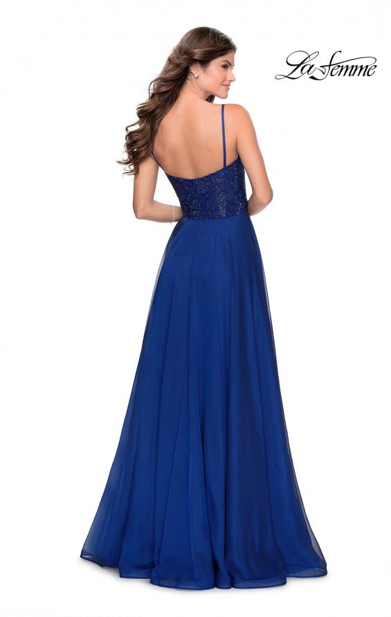 Picture of: Chiffon Prom Dress with Sheer Floral Lace Bodice in Marine Blue, Style: 28664, Detail Picture 5