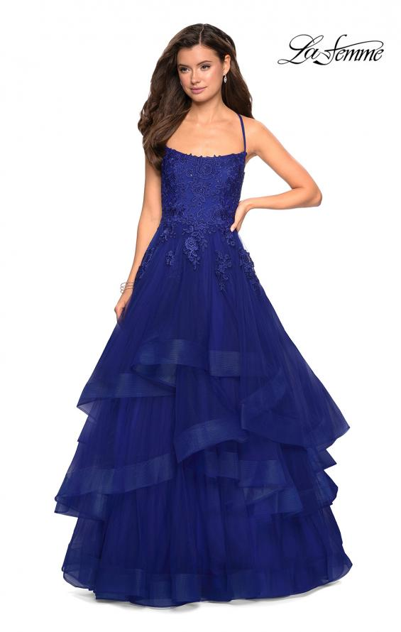 Picture of: Layered Tulle Dress with Lace Detail and Strappy Back in Marine Blue, Style: 27694, Detail Picture 6