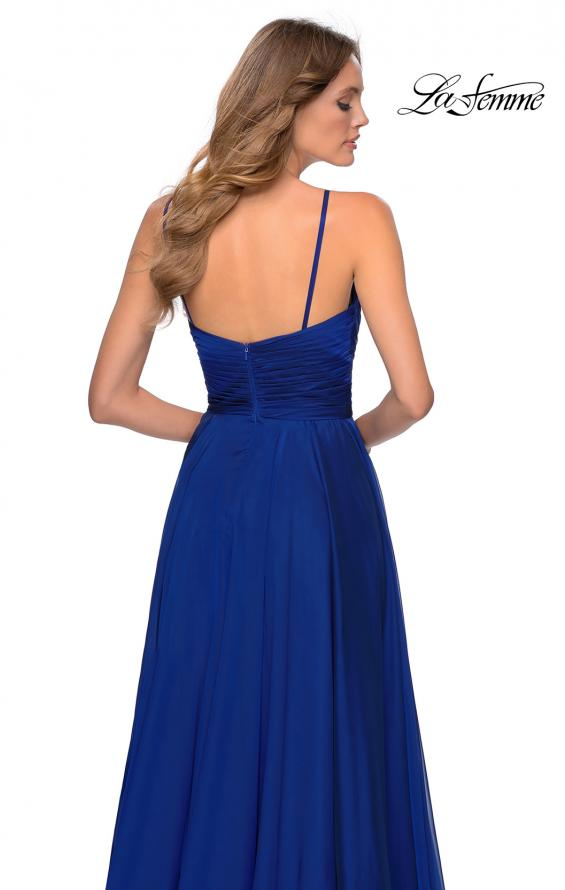 Picture of: Chiffon Prom Dress with Pleated Bodice and Pockets in Marine Blue, Style: 28611, Detail Picture 6