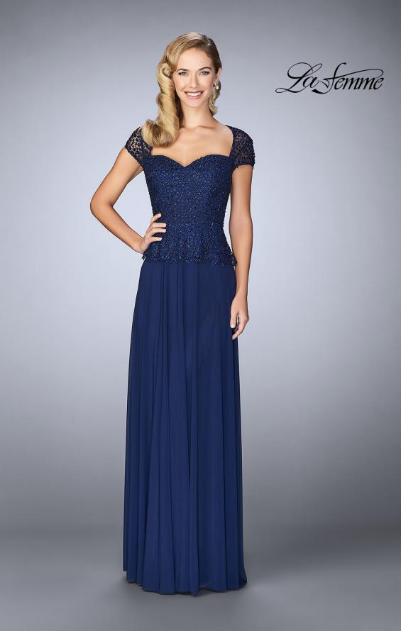 Picture of: Beaded Lace Evening Dress with Cap Sleeves and Peplum in Marine Blue, Style: 24915, Main Picture