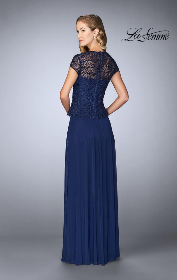 Picture of: Beaded Lace Evening Dress with Cap Sleeves and Peplum in Marine Blue, Style: 24915, Back Picture