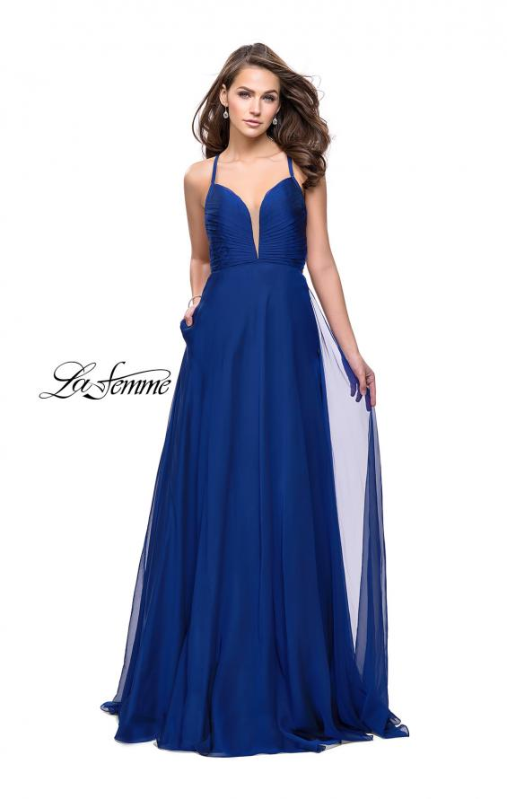 Picture of: A-line Prom Dress with Ruched Bodice and Pockets in Marine Blue, Style: 26190, Main Picture