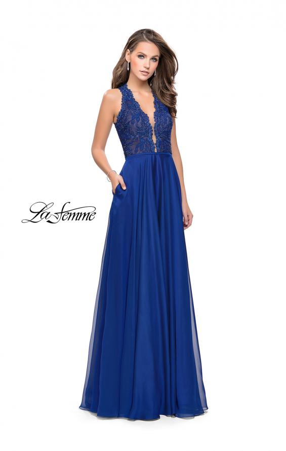 Picture of: Long A-line Dress with Chiffon Skirt and Strappy Details, Style: 25487, Detail Picture 3