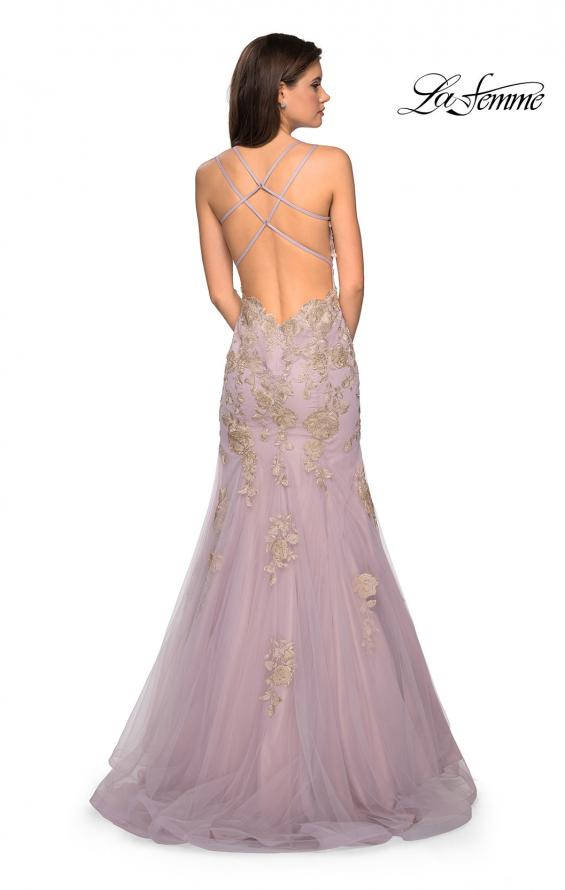 Picture of: Mermaid Tulle Prom Dress with Floral Appliques, Style: 27710, Back Picture