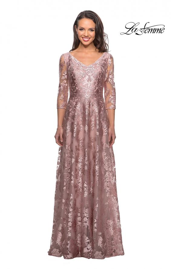 Picture of: Floor Length Lace Gown with Sheer 3/4 Sleeves, Style: 27861, Main Picture