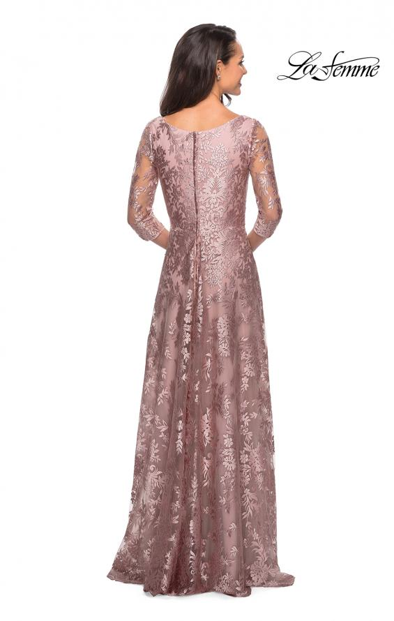 Picture of: Floor Length Lace Gown with Sheer 3/4 Sleeves, Style: 27861, Back Picture