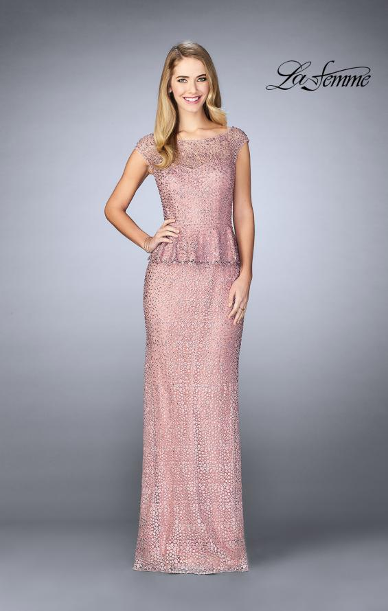 Picture of: Lace A-line Gown With Sheer Neckline and Peplum in Mauve, Style: 24896, Detail Picture 2