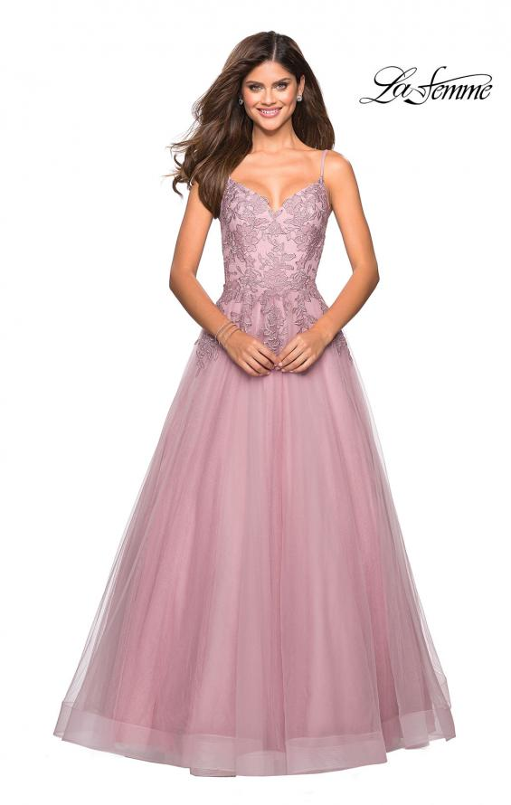 Picture of: Tulle Prom Gown with Floral Lace Embellishments, Style: 27569, Main Picture