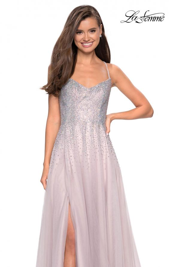 Picture of: Long Tulle Ball Gown with Cascading Rhinestones in Mauve, Style: 27750, Main Picture