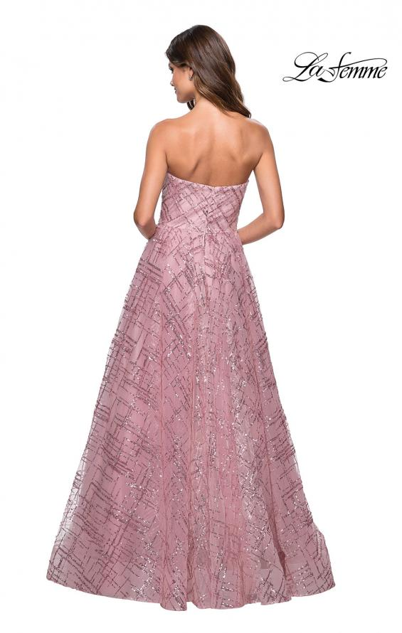 Picture of: Strapless A Line sequin Prom Gown with Pockets in Mauve, Style: 27237, Back Picture