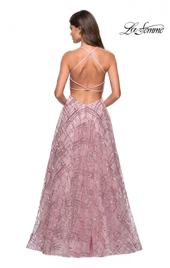 Picture of: High Neckline sequin A Line Prom Dress in Mauve, Style: 27451, Back Picture