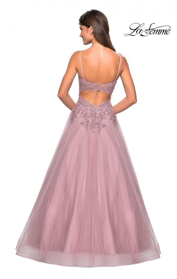 Picture of: Tulle Prom Gown with Floral Lace Embellishments, Style: 27569, Back Picture