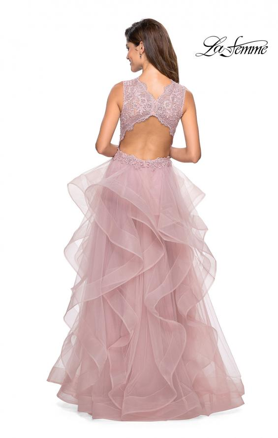 Picture of: Long Layered Tulle Dress with Lace Embellished Bodice Mauve, Style: 27570, Back Picture