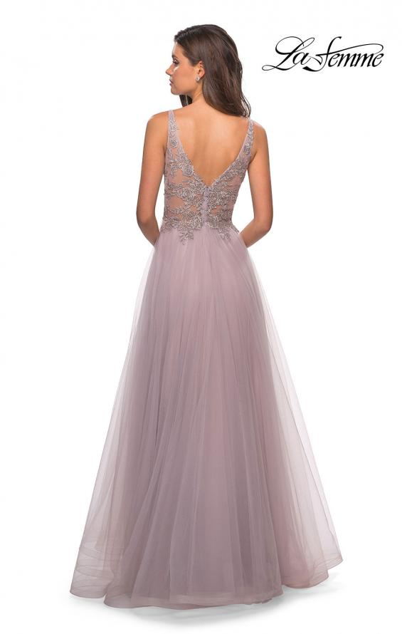 Picture of: A Line Long Prom Dress with High Slit and Lace, Style: 27676, Back Picture