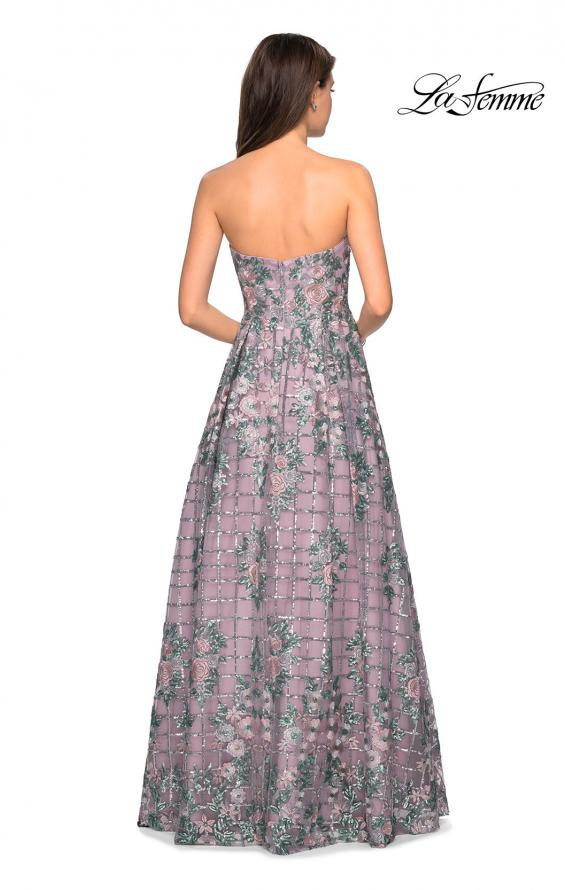 Picture of: Floral and Sequin A-Line Strapless Prom Dress in Mauve, Style: 27683, Back Picture