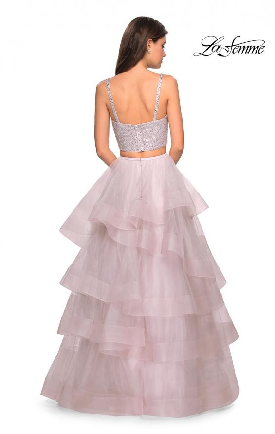 Picture of: Layered Tulle Two Piece Gown with Rhinestone Top in Mauve, Style: 27716, Back Picture