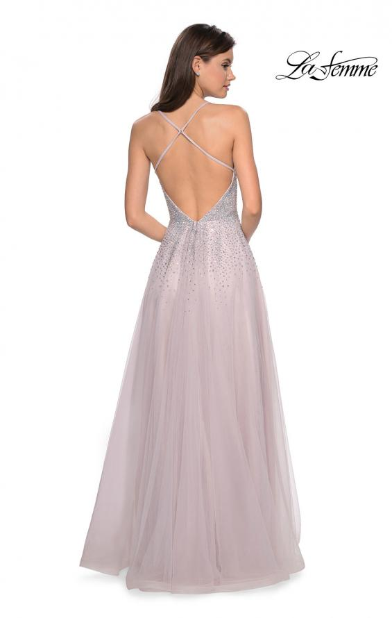 Picture of: Long Tulle Ball Gown with Cascading Rhinestones in Mauve, Style: 27750, Back Picture