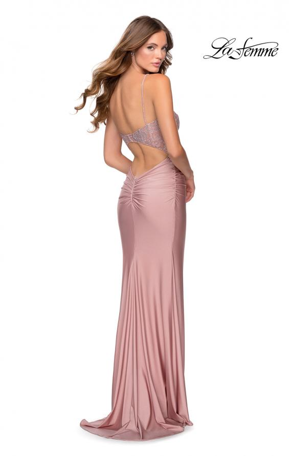 Picture of: Jersey Prom Dress with Lace Bodice and Rhinestones in Mauve, Style: 28558, Back Picture