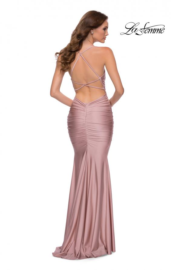 Picture of: On Trend Jersey Long Dress with Ruching on Bodice in Mauve, Style 29873, Back Picture