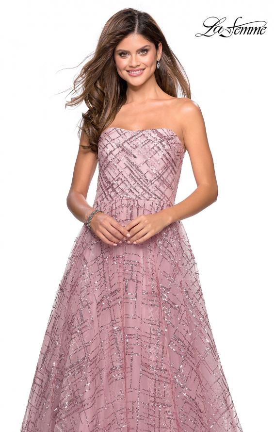 Picture of: Strapless A Line sequin Prom Gown with Pockets in Mauve, Style: 27237, Detail Picture 1