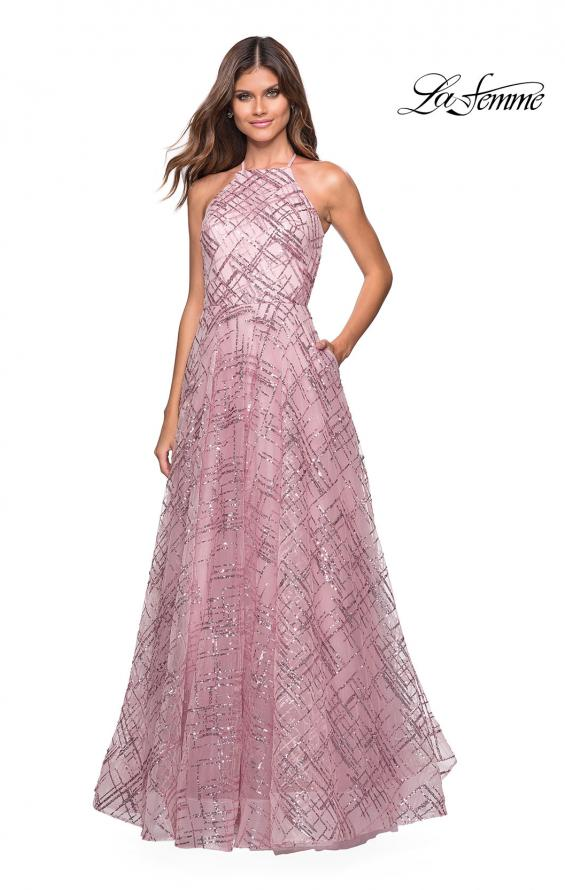 Picture of: High Neckline sequin A Line Prom Dress in Mauve, Style: 27451, Detail Picture 1
