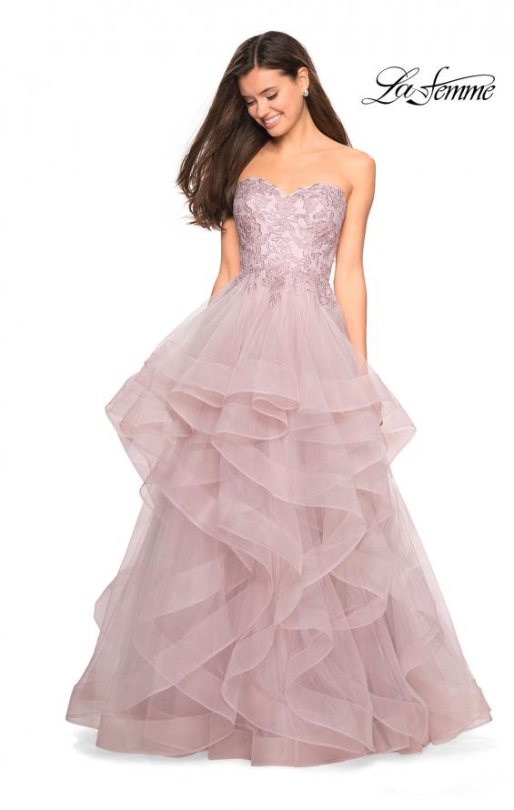 Picture of: Strapless Tulle Prom Gown with Lace Embellishments in Mauve, Style: 27620, Detail Picture 1