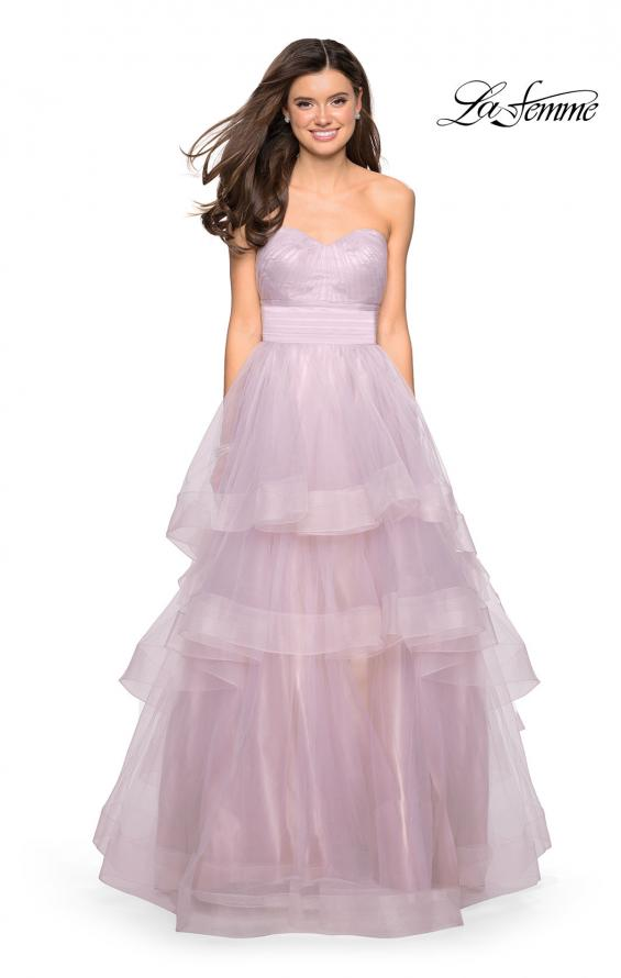 Picture of: Layered Tulle Strapless Prom Gown with Ruching, Style: 27624, Detail Picture 1