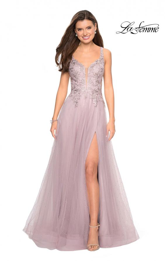 Picture of: Long Tulle Prom Dress with Embellished Bodice and Slit, Style: 27646, Detail Picture 1