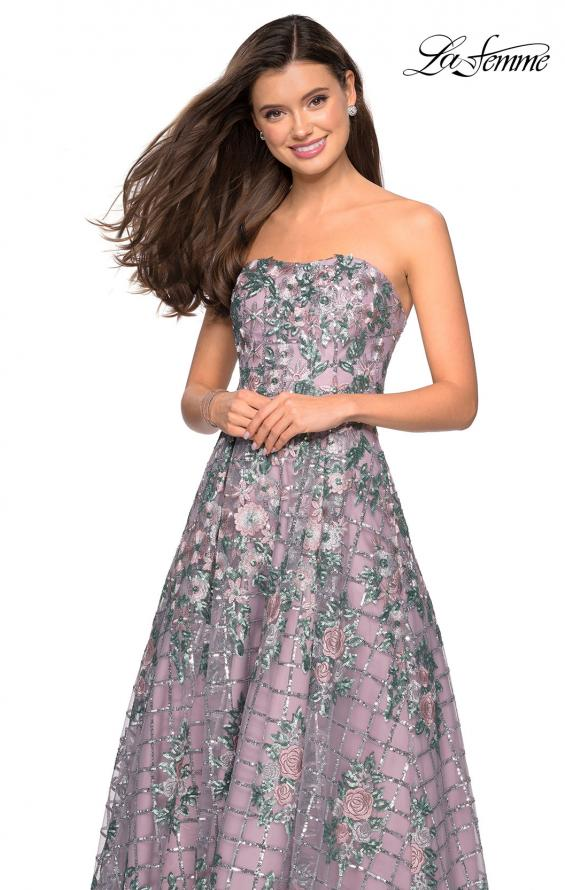 Picture of: Floral and Sequin A-Line Strapless Prom Dress in Mauve, Style: 27683, Detail Picture 1