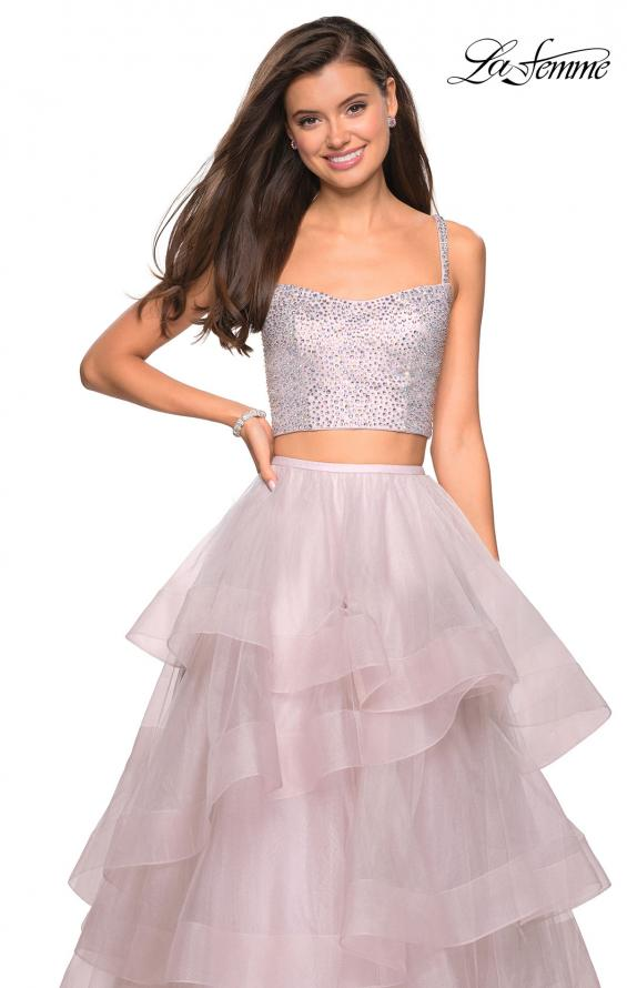 Picture of: Layered Tulle Two Piece Gown with Rhinestone Top in Mauve, Style: 27716, Detail Picture 1