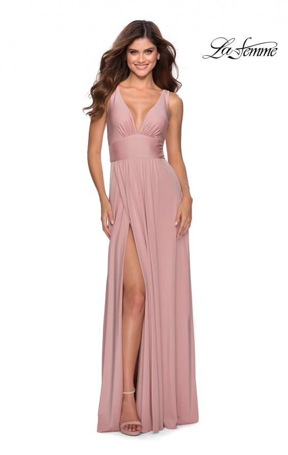 Picture of: Empire Waist Prom Gown with Deep V Neckline in Mauve, Style: 28547, Detail Picture 1
