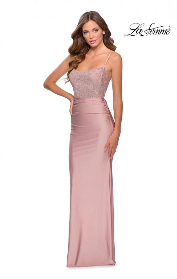 Picture of: Jersey Prom Dress with Lace Bodice and Rhinestones in Mauve, Style: 28558, Detail Picture 1