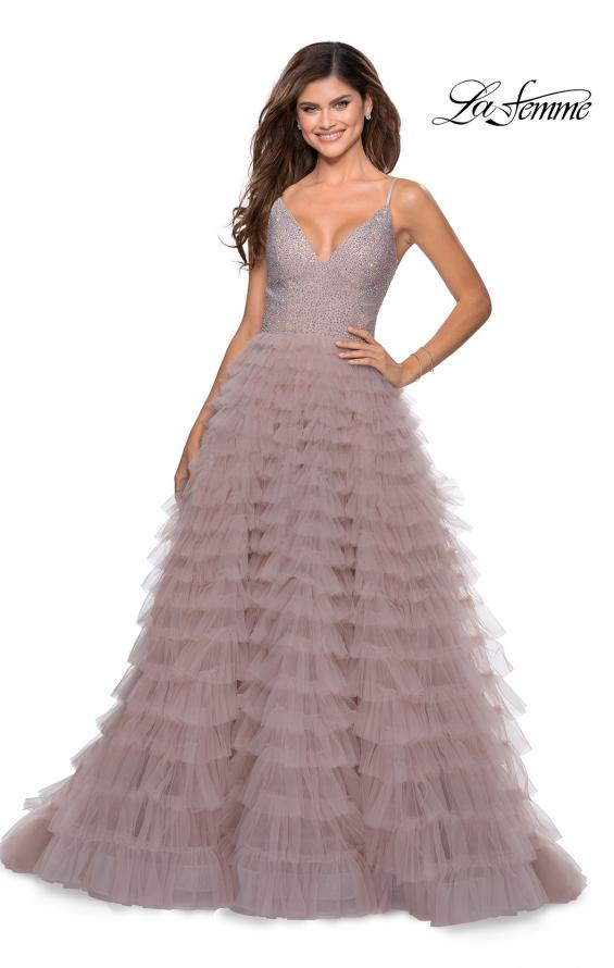 Picture of: Layered Tulle Prom Dress with Sheer Rhinestone Top in Mauve, Style: 28788, Detail Picture 1