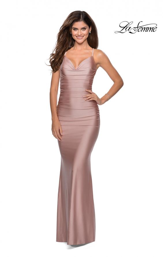 Picture of: Form Fitting Jersey Dress with Ruching and Strappy Back in Mauve, Style: 27501, Detail Picture 2
