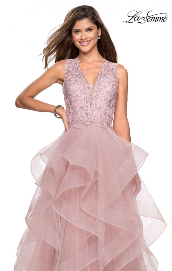 Picture of: Long Layered Tulle Dress with Lace Embellished Bodice in Mauve, Style: 27570, Detail Picture 2