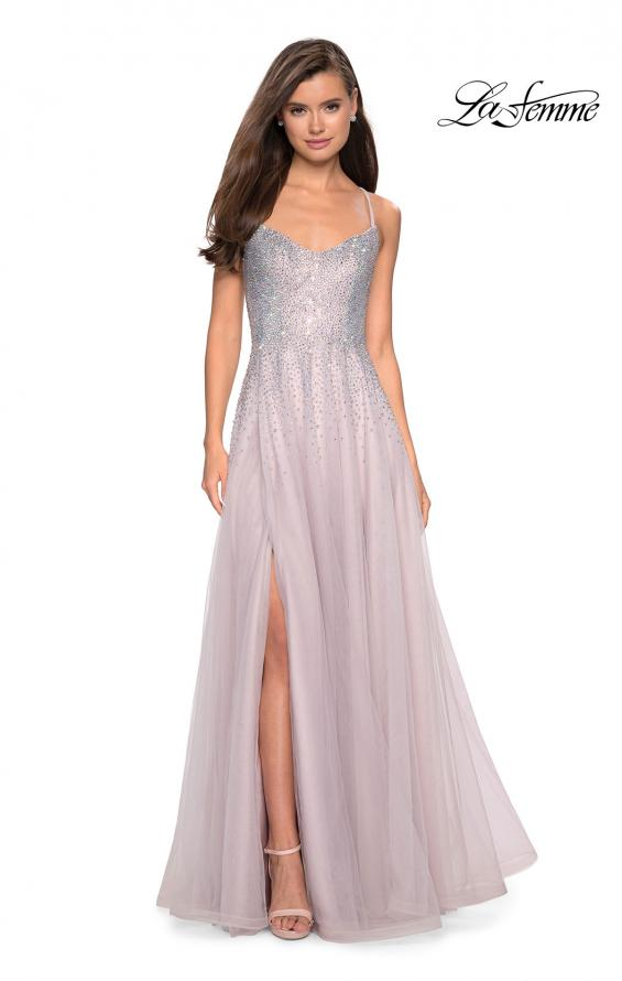 Picture of: Long Tulle Ball Gown with Cascading Rhinestones in Mauve, Style: 27750, Detail Picture 2