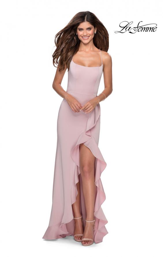 Picture of: Ruffle Prom Dress with Scoop Neck and Lace Up Back in Mauve, Style: 28294, Detail Picture 2